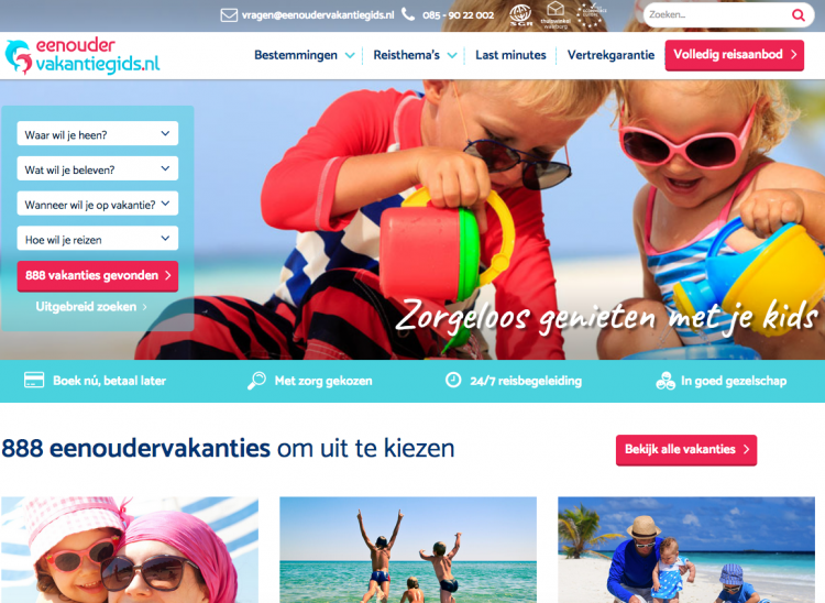 Nieuwe website Eenoudervakantiegids.nl